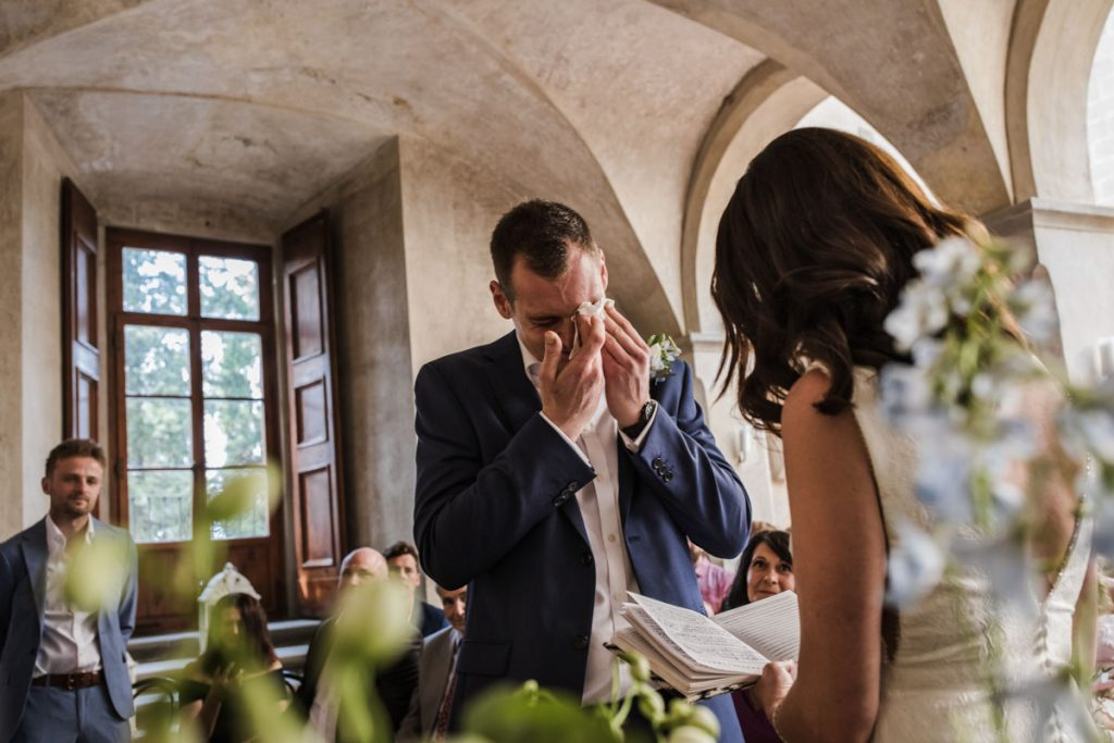 groom getting emotioned