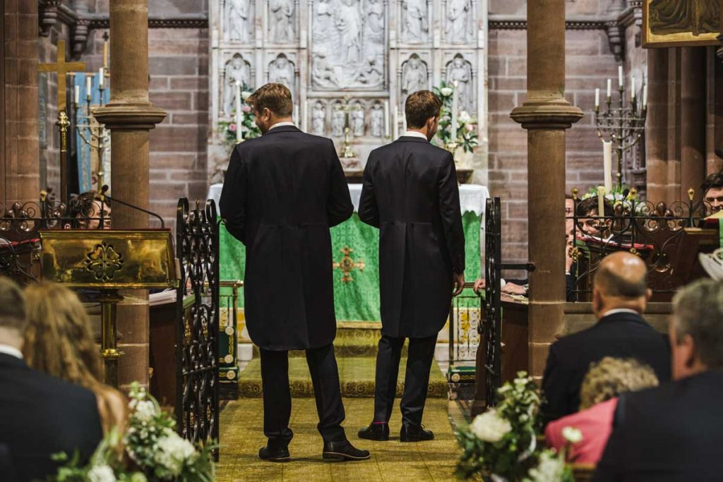 waiting for the bride at St. Bartholomew's Thurstaston england