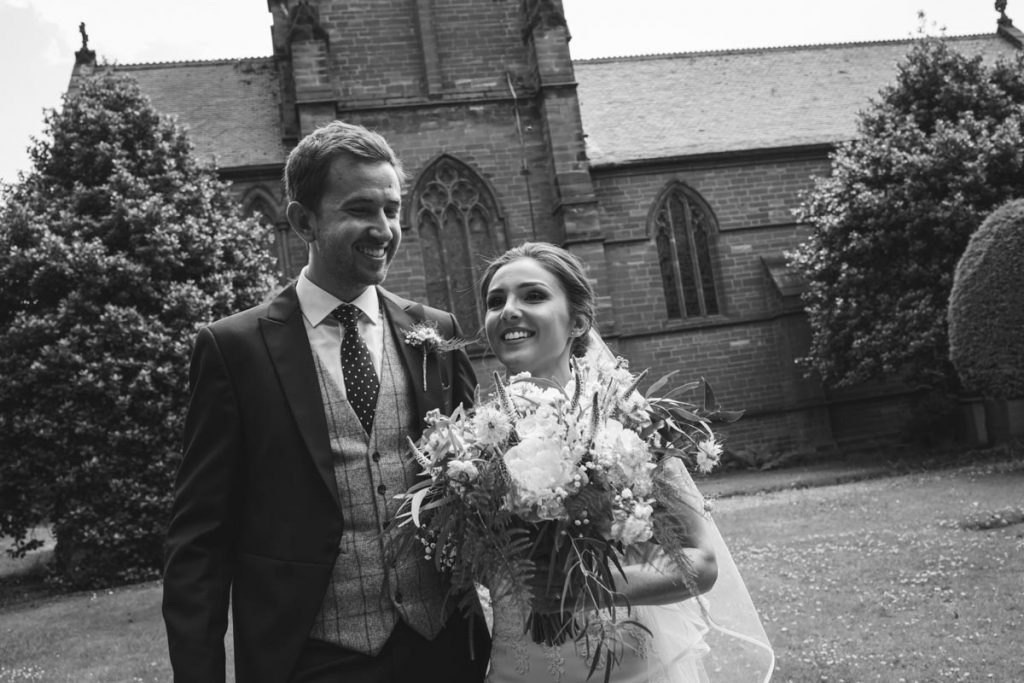 newly wed at St. Bartholomew's Thurstaston england