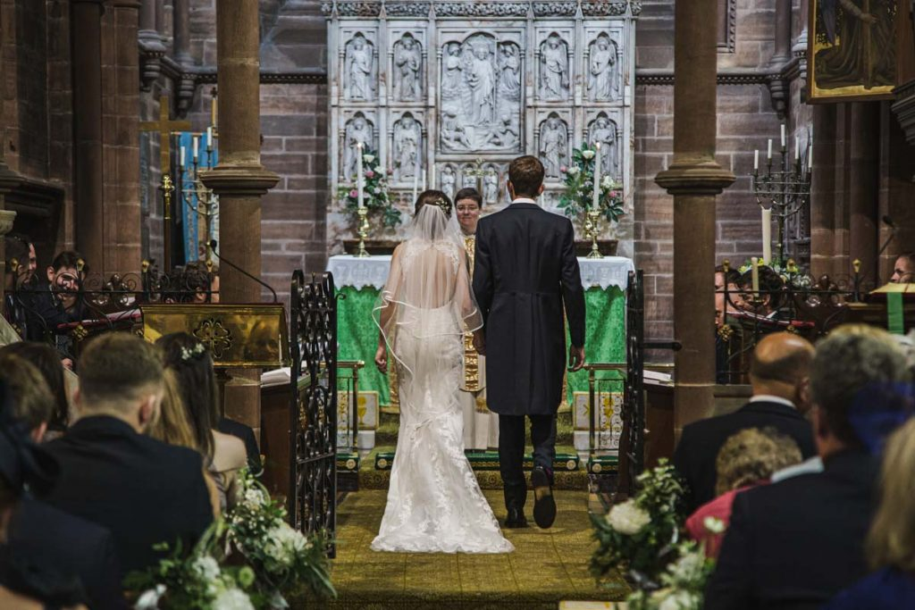 wedding ceremony at St. Bartholomew's Thurstaston england