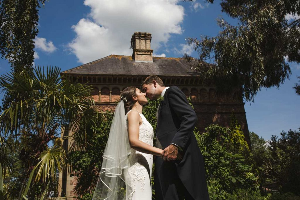 bride and groom formal portrait soughton hall