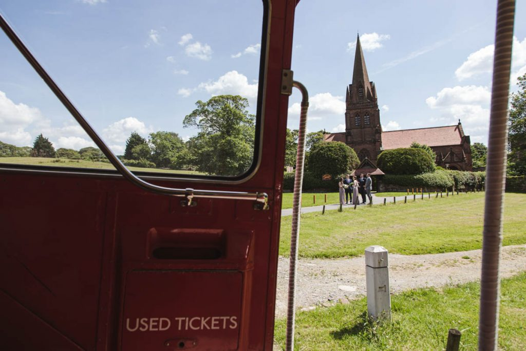 St. Bartholomew's Thurstaston wedding church and double-decker