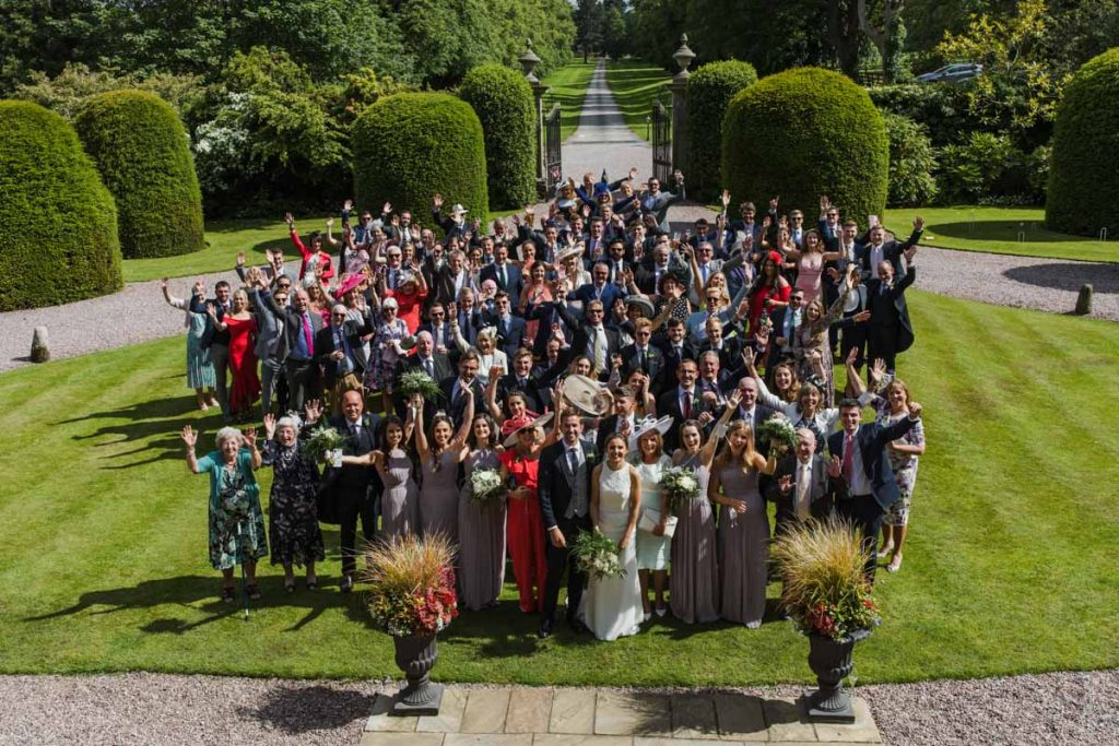 wedding group photo soughton hall wales