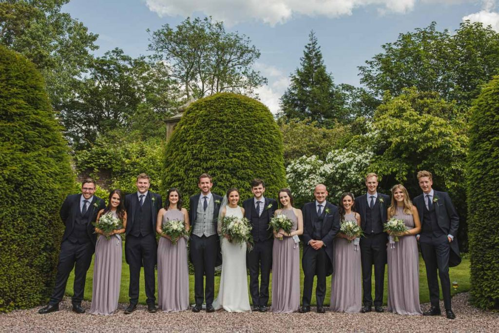 bridal party formal photo at soughton hall wales