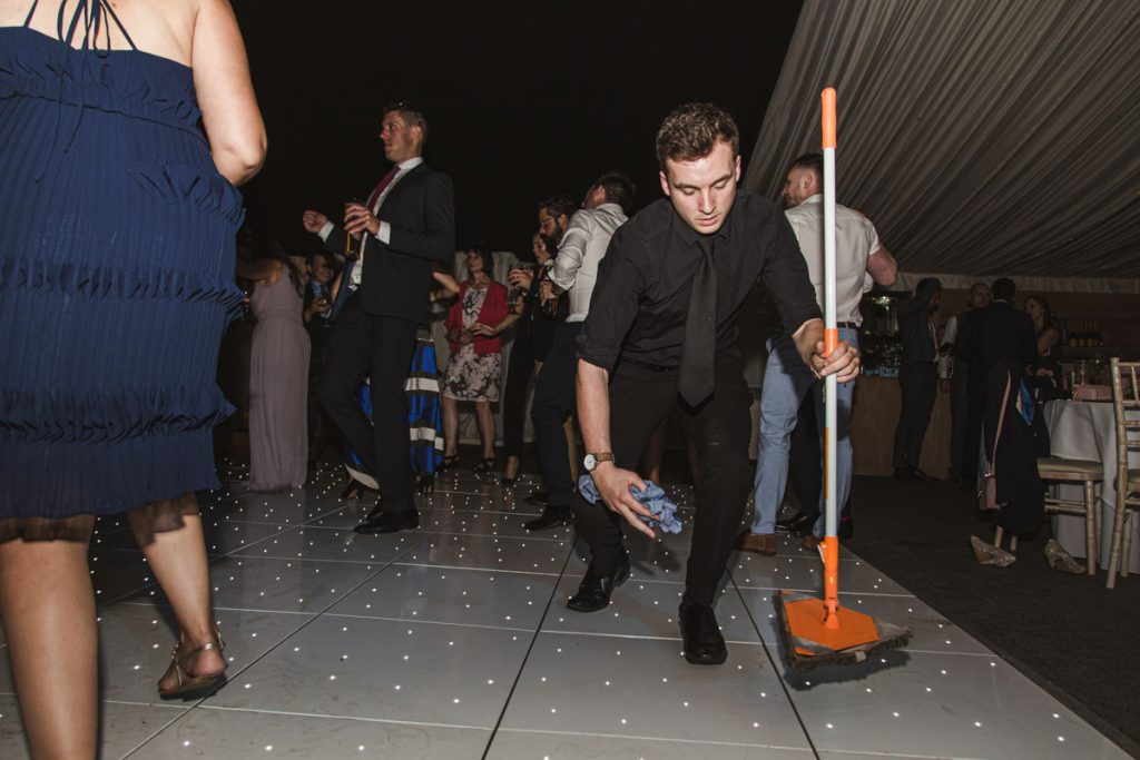 cleaning the dance floor