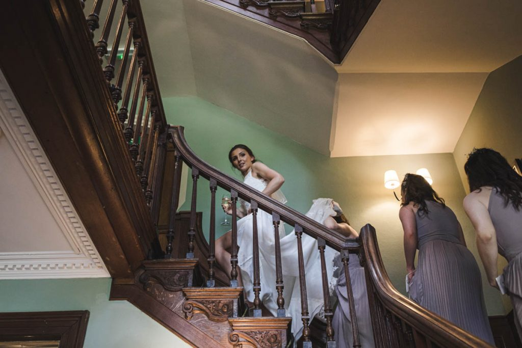 bride and bridesmaids at soughton hall wales